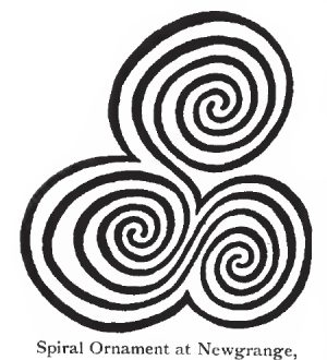 Symbol of the triple spiral etched onto the ancient site of Newgrange in Ireland.