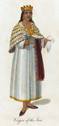 Illustration of an Inca priestess referred to as a Virgin of the Sun