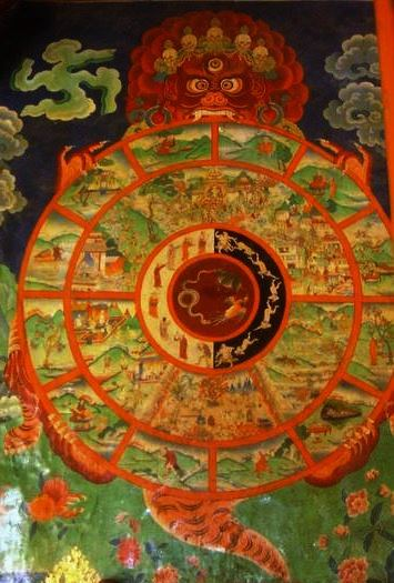 A painting of the Wheel of Samsara in the Sera Monastery of Tibet. Notice the light and dark halves of the middle of the wheel, through which life rotates. (photo copyright Philipp Roelli, 2005)
