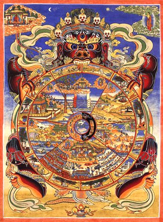 Buddhist painting of the Wheel of Samsara. Notice the light and dark halves of the middle of the wheel, which all life rotates through.
