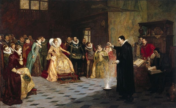 The occultist, astrologer, and consultant to Queen Elizabeth I, performing an experiment before her.