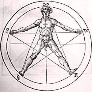Human and pentagram by Agrippa