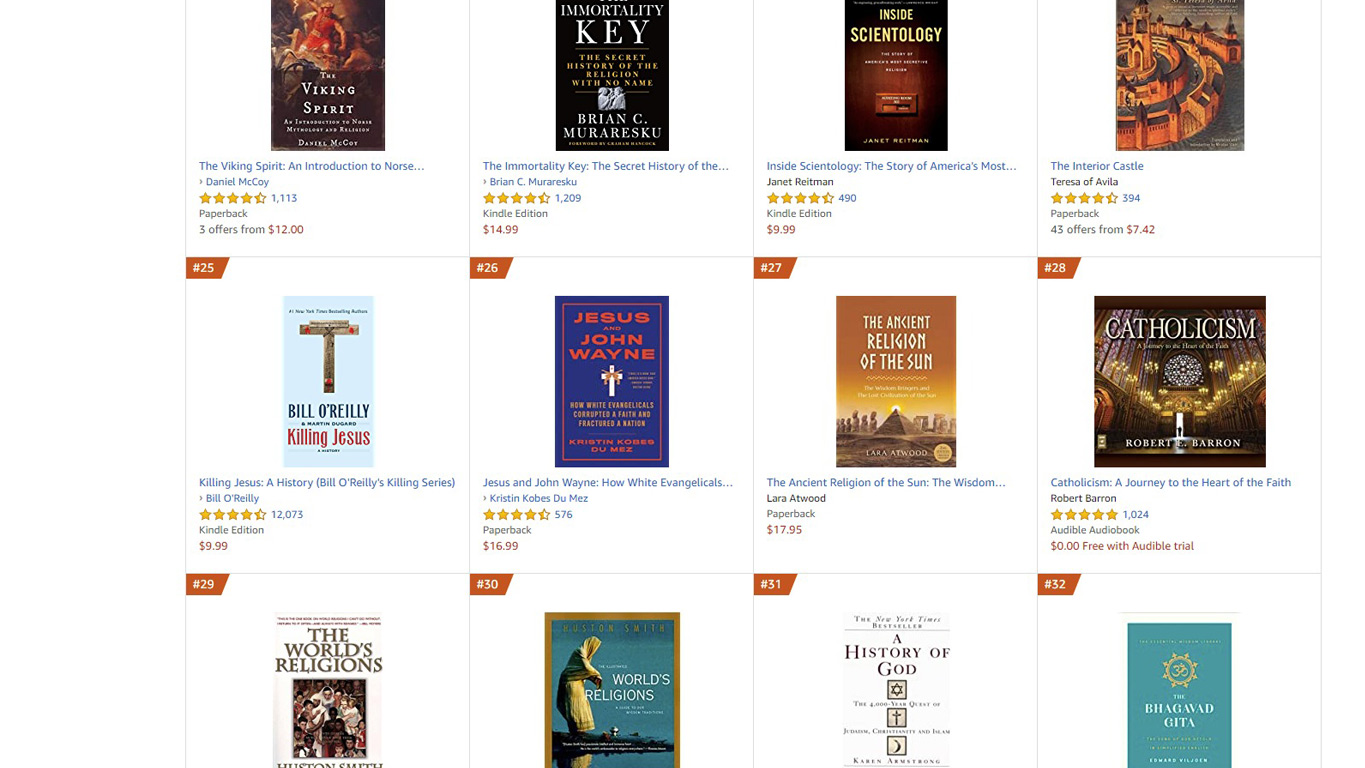 The Ancient Religion of the Sun book in the Amazon General History of Religion bestseller list
